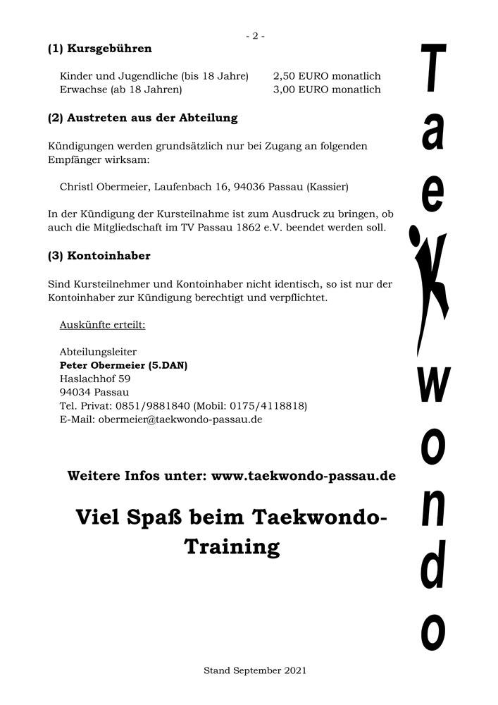 Anmeldung TV Passau 1862 e.V. Abteilung Taekwondo