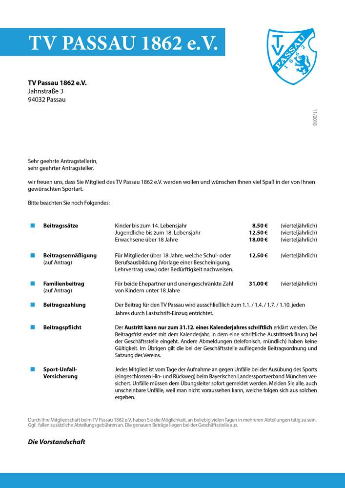 Anmeldung TV Passau 1862 e.V.