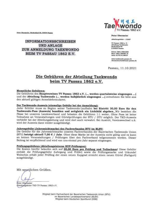 Gebuehren Abteilung und TV Passau 2021